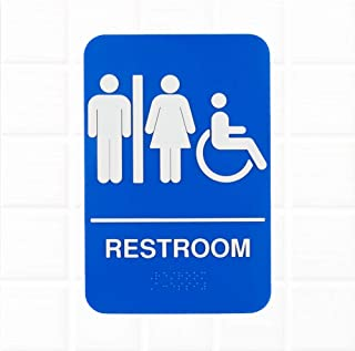Unisex Restroom Sign with Braille - Blue and White, 9 x 6 Inches ADA Handicap Accessible Unisex Restroom Sign, ADA Compliant Restroom/Bathroom Signs by Tezzorio
