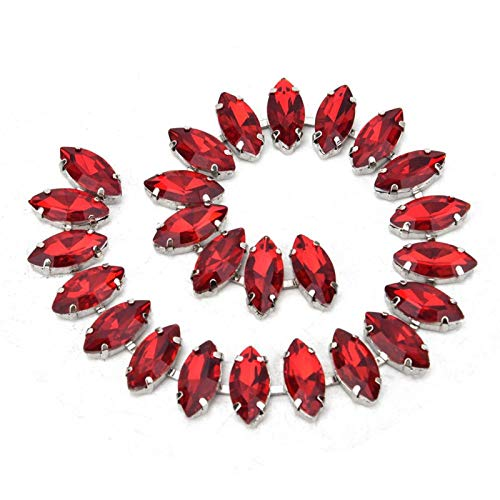 100% Brand New Rhinestone Chain, Rhinestone Trim, Backpacks for Decoration Jackets for DIY(7 * 15mm Horse Eye red Diamond)