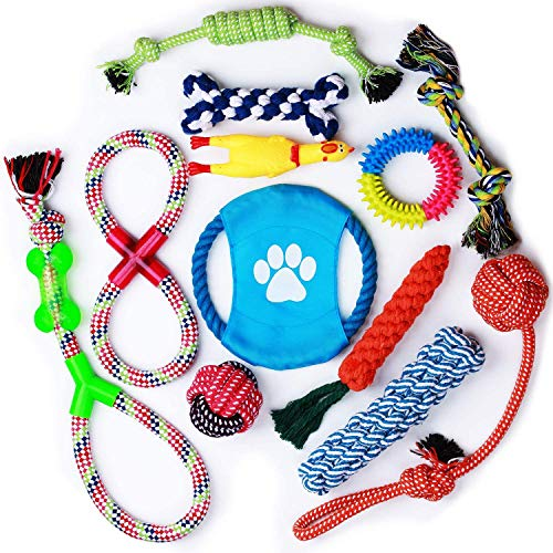Parner Hundespielzeug, 12 Pcs Seil Ball Hunde Kauen Spielzeug Set Für Kleine große mittelgroßen Hund Interaktives Spielset Unzerstoerbar Baumwollknoten Tau Tier