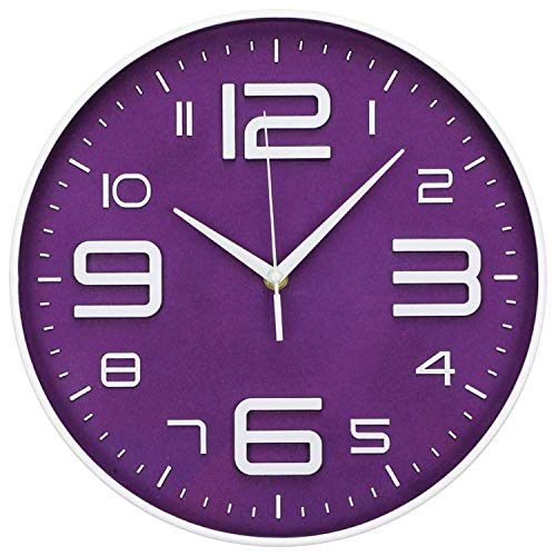LONBUYS Purple 12 Inch Wall Clock Silent No Ticking Quartz Clock Battery Operated Round Easy to Read Modern Wall Clock Decor for Living Room, Bedroom, Office