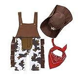 HUAZONG 3-teiliges Baby-Kostüm für Jungen, Cowboy-Kostüm, Jumpsuit + Mütze + Schal Karneval...