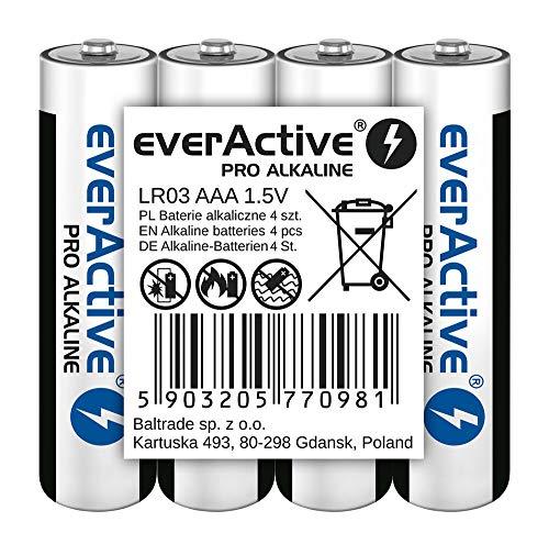 everActive AAA Batterien 4er Pack, Pro Alkaline, Micro LR03 R03 1.5V, höchster Leistung, 10 Jahre Haltbarkeit, 4 Stück