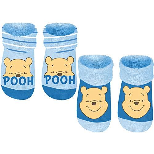 Winnie the Pooh - Baby Frottee-Socks mit Anti-Rutsch Noppen, 2er Pack, Blau, Gr. 19/22