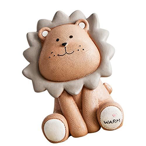 TOYANDONA León Banco para monedas para niños, bonito diseño de dibujos animados, hucha, hucha, león, hucha para niños, regalo de cumpleaños, color marrón