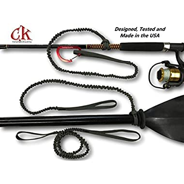 Campingandkayaking MADE IN THE USA JULY 4th SALE! Paddle Leash with a 2 Rod Leash Set, 3 Leashes Total Plus 1 Carabiner.