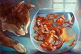 Pintura para números para Gatos Adultos y Sirena en el Acuario Kits Masculinos de Lona de Aceite Digital para Adultos Boda de cumpleaños para niños