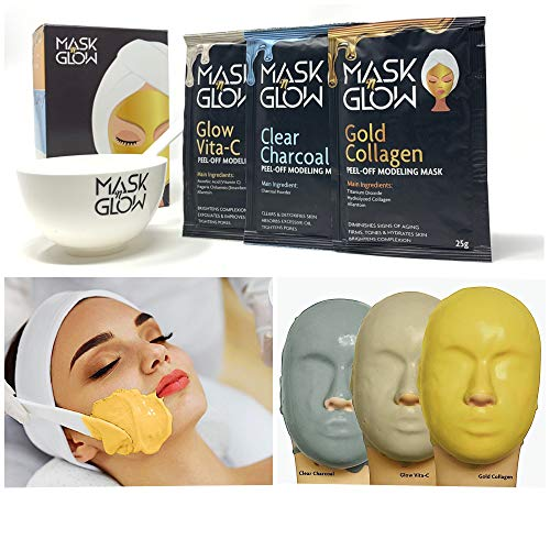 Premium Modeling Peel-Off Mask'Rubber Mask' Spa Set- 3 Treatments (Gold Collagen, Glow Vita C, Clear Charcoal) + Bowl and Spatula, Made In Korea (3 Pack, Spa Set) (3 Pack)