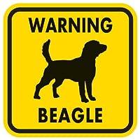 WARNING BEAGLE マグネットサイン:ビーグル(イエロー)Mサイズ