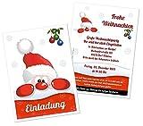Weihnachtsfeier Einladungen Firma Verein Saalbetrieb lustig witzig - mit Wunschtext - 100 Karten, Größe 17 x 12 cm