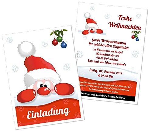 Einladungen zur Weihnachtsfeier für jeden geeignet, lustig und Frohe Weihnachten - eigener Text Wunschtext - 30 Stück, DIN A5