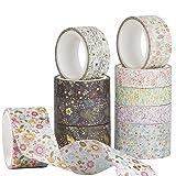 Washi Tape Set Cinta Adhesiva Decorativa Flores para DIY Bullet Journal Albumes de Recortes Tarjetas Cuaderno 10 Rollos