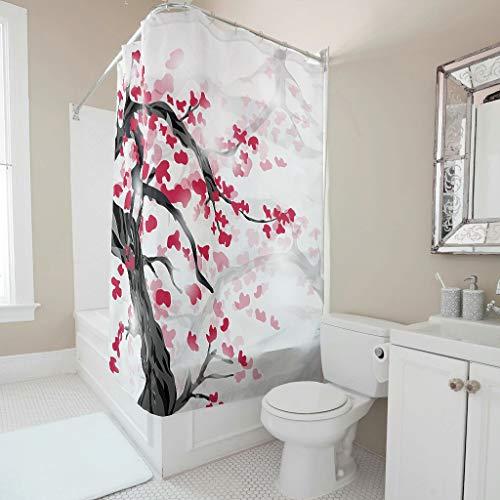 Sweet Luck Cortina de ducha japonesa con flores de cerezo, antimoho, resistente al agua, lavable, tela de poliéster textil, cortina de baño con ganchos para ducha, color blanco, 91 x 180 cm