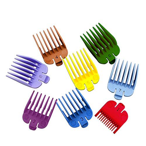 """Heyoung Professional Hair Clipper Guide Combs,8 Sizes Colorful Clipper Guards Attachment Set for Most Hair Clippers/Trimmers-8 Cutting Lengths from 1/8""""to 1""""(3-25mm)"""