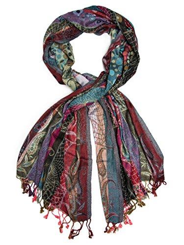 Bohomonde Harina Shawl, Woven Reversible Striped Pashmina Scarf, Hand Made in India Royal