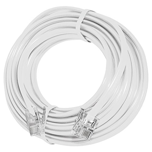 AMZER 15 Feet Telephone Line Extension Cord Heavy Duty 4 Conductor Cable - Wh