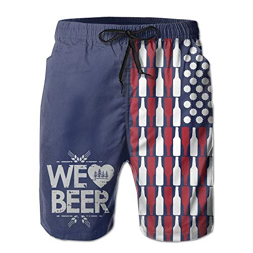 Beer USA Flag Men's Summer Beach Quick-Dry Surf Swim Trunks Boardshorts Cargo Pants M