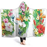 Manta con capucha de 40 x 50 pulgadas, diseño de flores tropicales de Navidad tropicales, hojas de hibisco, mariposas, poncho envolvente con suave forro polar, cálido