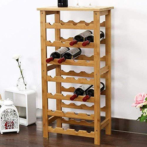 BAKAJI Cantinetta Porta Bottiglie Vino 28 Posti in Legno di bambù Portabottiglie Cantina Casa Bar Ristorante Dimensioni: 94 x 47 x 29 cm Colore Bamboo
