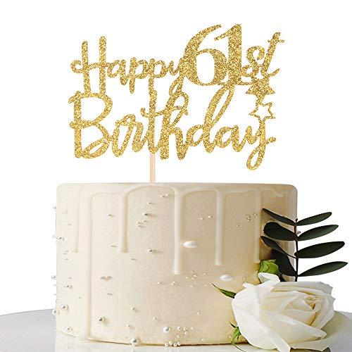 Gold Glitter Happy 61st Birthday Cake Topper - 61 Cake Topper - 61st Birthday Party Supplies - 61st Birthday Party Decorations