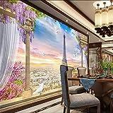 Dalxsh 3D Tridimensional Parisina Europea Paisaje Pared Personalizada Gran Mural Wallpaper3D-120X100Cm