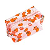 Cute Crystal Clear Cosmetic Bags, Travel Toiletry Clear Makeup Bags, Portable Makeup Brushes Kit Storage Bag, Waterproof Cartoon Organization For Women Girls (Peaches)