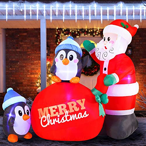 Joiedomi 7 FT Long Santa with Penguins Inflatable with Build-in LEDs Blow Up Inflatables for Xmas Party Indoor, Outdoor, Yard, Garden, Lawn Winter Decor.