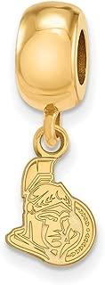 Jewel Tie 925 Sterling Silver with Gold-Toned NHL Ottawa Senators Extra Small Dangle Bead Charm Very Small Pendant Charm
