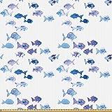 ABAKUHAUS Tier Stoff als Meterware, Aquarell süße Fische,