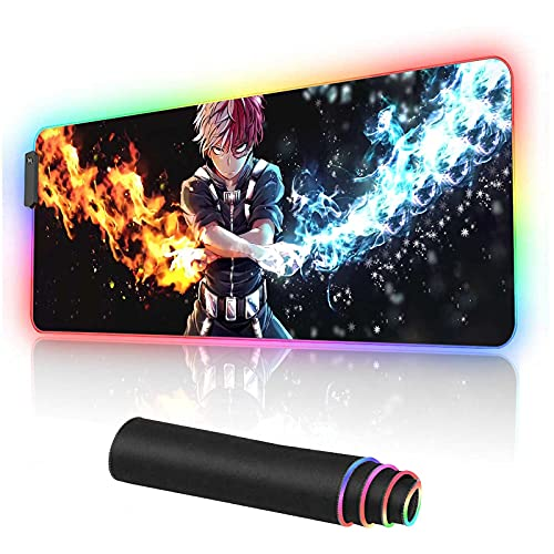 RGB Gaming Mouse pad Anime Todoroki Custom Design Mousepad,Mouse Pads with Non-Slip Rubber Base,Stitched Edges Mouse mat,Washable Desk pad for Computer Keyboard mice Laptop & PC,31.5x11.8 inch