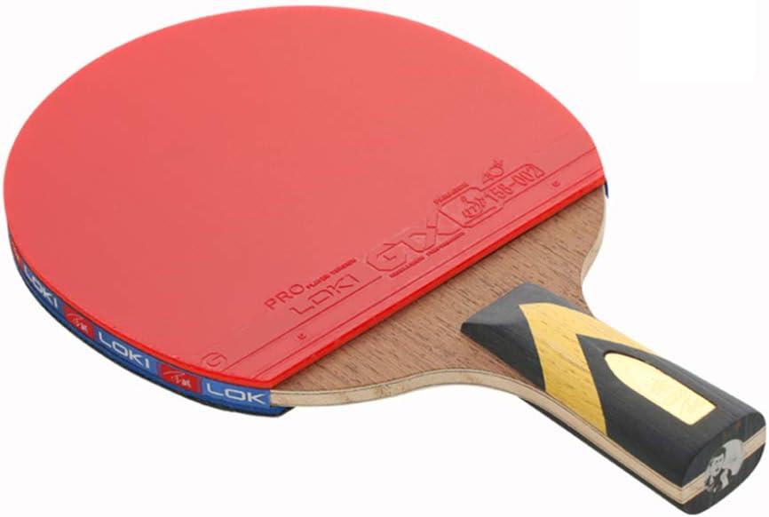 GEREP Raquetas de Ping Pong Mango corto antideslizante,Juego de Raquetas de Ping Pong caucho GTX, 5 capas de madera de hierro, 2 capas de fibra de carbono / 4 estrellas / 2×Short handle