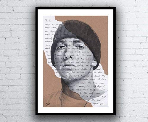 Eminem Portrait Drawing - Giclée art print with Lose Yourself Lyrics Background - Kunstdruck A5 A4 A3 Sizes limited edition slim shady 8 mile