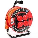 KEL -ELECTRIC - Tambor de cable para jardín con 10 m de PVC - Cable 3 x 1,5 mm², 230 V/16 A - Cable alargador de plástico con 4 enchufes de protección IP44