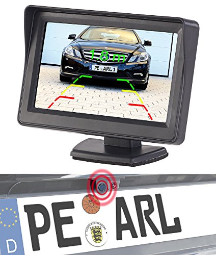 Lescars Rückfahrkameras: Farb-Rückfahrkamera und Einparkhilfe mit 10,9-cm-TFT-Rückfahrmonitor (Rückfahrhilfe)