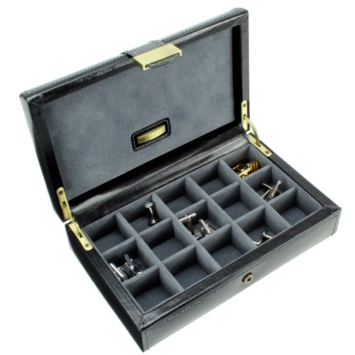 Dulwich Designs Men's Heritage Leather 15 Section Cufflink Box, Black B+