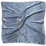 Uridy Pañuelo de seda Pañuelo de satén cuadrado para mujer Textura de mármol azul claro