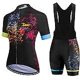 WPW Maillot de Ciclismo y Culotte con Tirantes, Shorts de Ciclismo para Mujer con 3 Bolsillos Traseros Elásticos, Ropa de Ciclismo MTB para Ciclista (Color : I, Talla : X-Small)