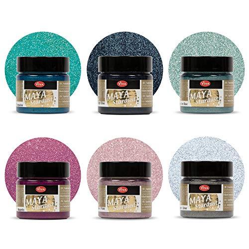 Viva Decor® Maya Stardust 6er Set Muscari (6 x 45 ml) feine Glitzer-Farbe zum Basteln - Glitter Farben für Porzellan, Beton, Steine, Papier, Glas uvm. - Made in Germany