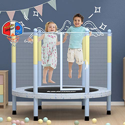 ZTIANR Indoor Oder Outdoor-Trampolin Für Kinder, Trampolin Mit Sicherheitskabine, Trampolin Mit Basketballkorb