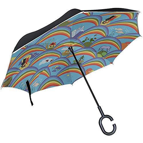ETGeed Paraguas invertido invertido Dibujos Animados Creativo Hermoso Gato Mascota Plegable Paraguas...
