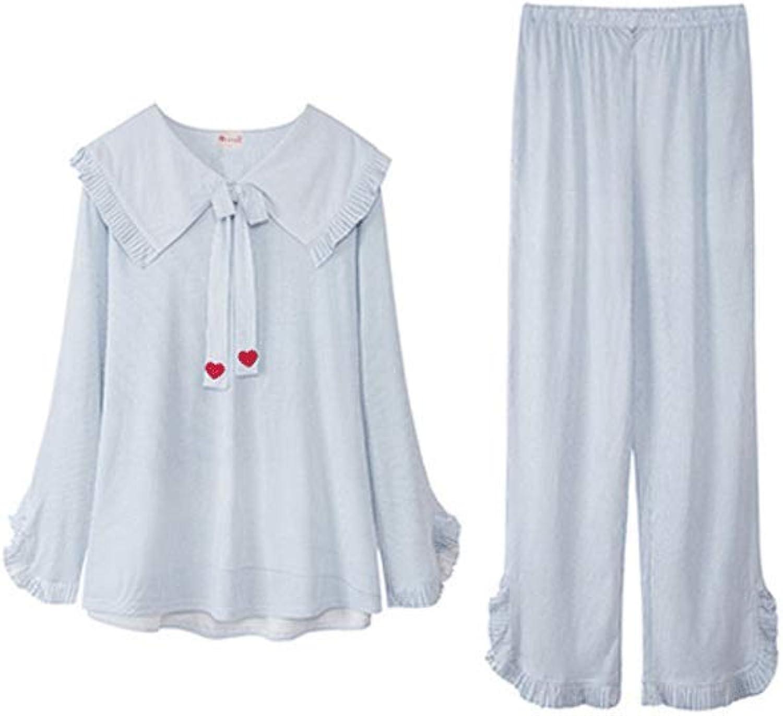 Lilomgjiao Women's Pajamas Set Long Sleeve Pjs Set Women's Cotton Pajamas 2 Piece Pajamas Pajamas Set Thicken (SXXL)