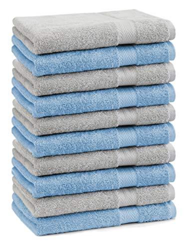 Betz Paquete de 10 Piezas de Toallas para Invitados Juego de Toalla de Lavabo 100% algodón tamaño 30x50 cm Toalla de Mano Premium de Color Azul Claro y Gris Plata