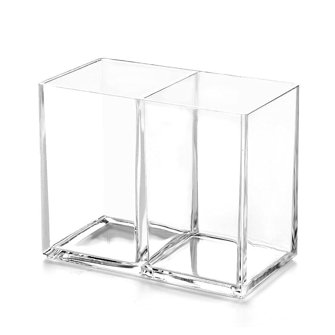 確認してください混雑ブレイズRiLiKu アクリルメイクブラシ収納ボックス 2段透明ペン立て 卓上文房具収納ボックス