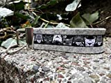 Schlüsselanhänger Schlüsselband Filz hellgrau Webband Katzen schwarz weiß grau Geschenk !