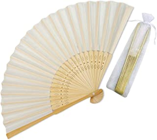 Sparkly Time Silk Bamboo Hand Held Fans with Organza Gift Bag - Perfect Wedding Fans (Beige/Ivory, 25 Pack)
