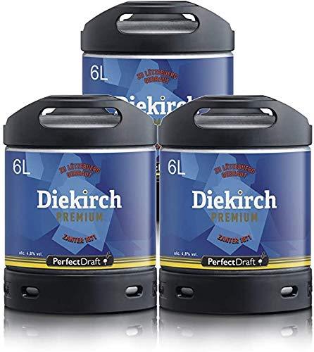 Bier PerfectDraft 3 x 6-Liter Fässer Bier. Zapfanlage für Zuhause. Inklusive 15euros Pfand. (Diekirch Premium Pils)