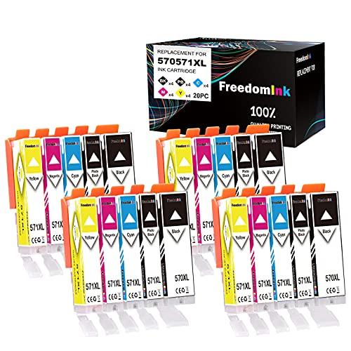 FreedomInk - 20 cartuchos de tinta para Canon PGI-570 CLI-571 compatibles con Canon PGI-570 XL CLI-571 XL para Canon Pixma MG5750 TS5050 TS5055 MG5751 MG5752 MG5753 MG6850 851 MG. 6852 TS6050.