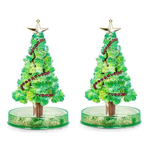 2 Pcs Magic Growing Crystal Christmas Tree, Presents Novelty Xmas Gift for Kids Boy Girl Funny Educational Games Toy,Christmas Decoration Party Toy,Creative Birthday Gift