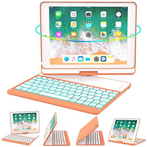 iPad Keyboard Case 9.7 for iPad 2018 (6th Gen) - 2017(5th Gen) - iPad Pro 9.7 - Air 2 & 1, 360 Rotate 7 Color Backlit Wireless/BT iPad Case with Keyboard, Auto Sleep Wake, 9.7 inch, Papaya