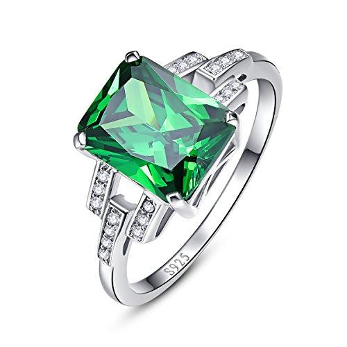 BONLAVIE Damen Ringe 925 Sterling Silber Smaragd Geschnitten Für Den Geliebten