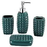 Gricol Set di Accessori da Bagno 4 Pezzi in Ceramica per Casa e Hotel Incluso Distributore per Lozione Bicchieri per Spazzolino da Denti Porta spazzolino e Portasapone Verde Scuro